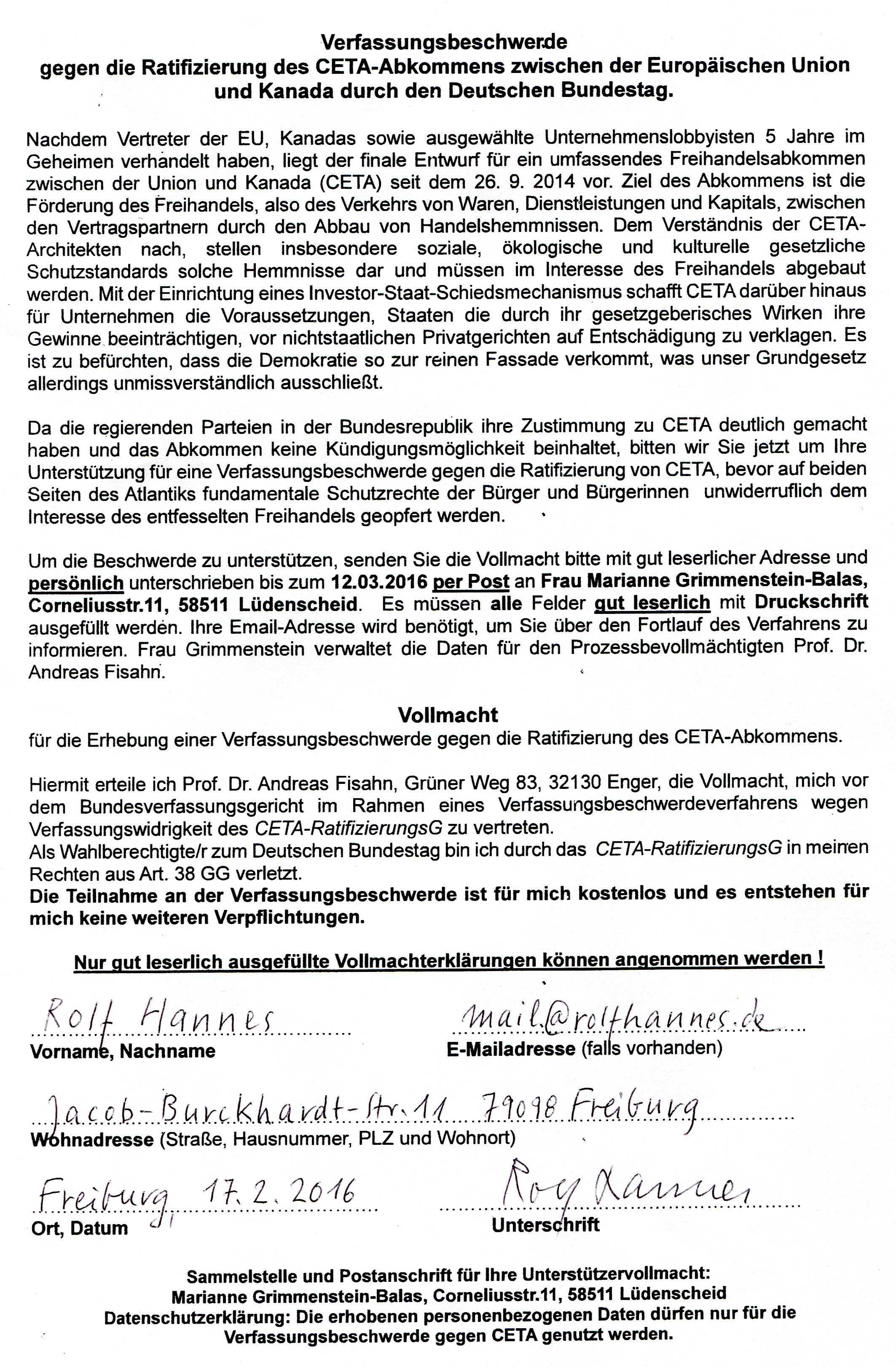 CETA Verfassungsbeschw